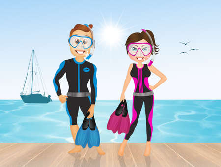 woman floating: couple go diving
