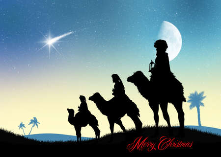 reyes magos: three wise men on camels in the desert
