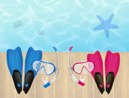 scuba mask: flippers and scuba mask in summer