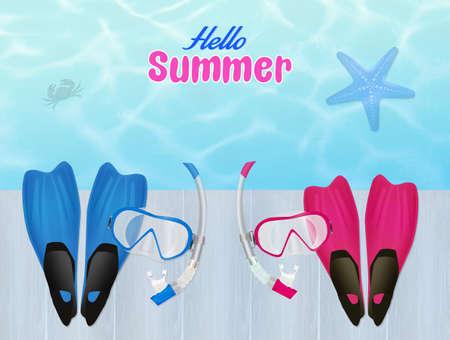 flippers: aletas y m�scara de buceo en verano