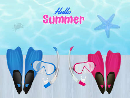 flippers: flippers and scuba mask in summer