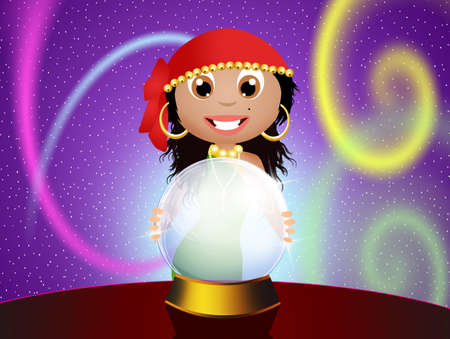 clairvoyant: gypsy with crystal ball