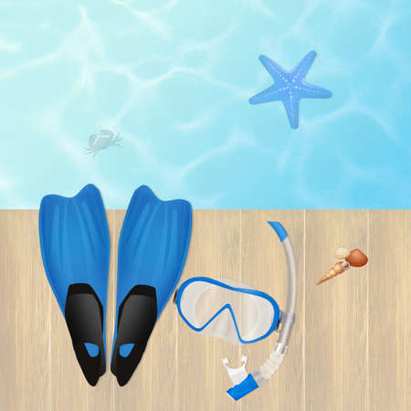 flippers: flippers and mask for diving Stock Photo