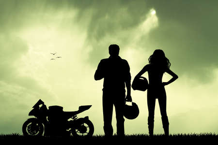 couples outdoors: couple of motorcyclist Stock Photo
