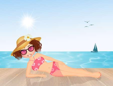 sunbathing: girl sunbathing at the beach Stock Photo