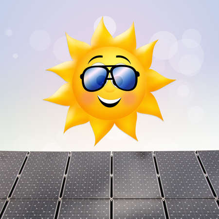 panels: funny illustration of solar panels