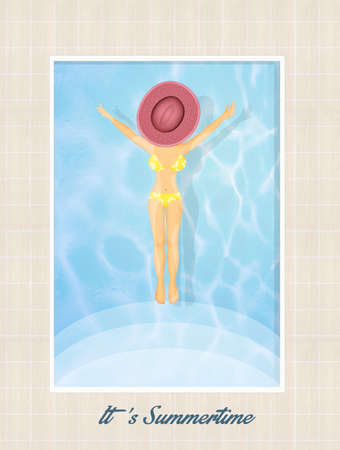 swimming pool woman: illustration of summertime Stock Photo