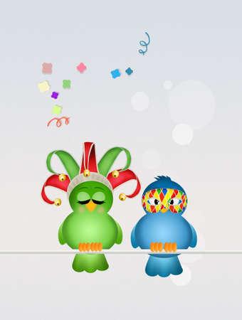 minstrel: birds masquerade for Carnival