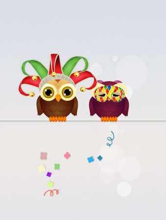 minstrel: owls masquerade for Carnival
