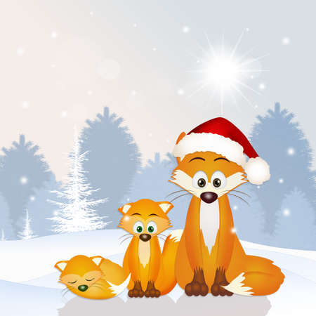 artful: red fox family at Christmas hat