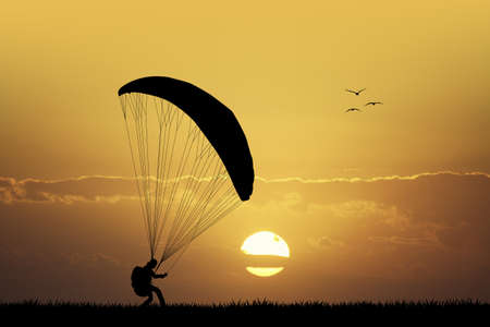paraglider: paraglider at sunset