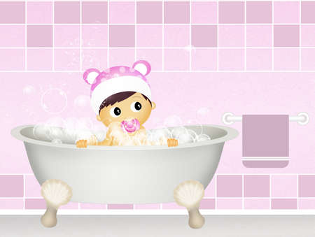 childcare: baby in the bathtub
