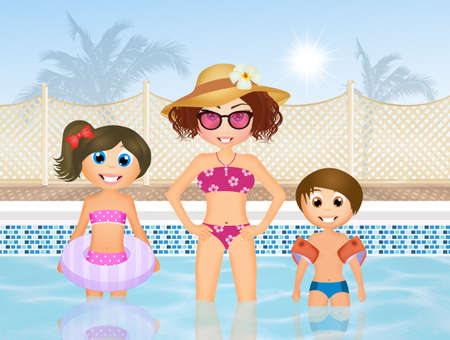 armrests: mom playing in the pool with the kids