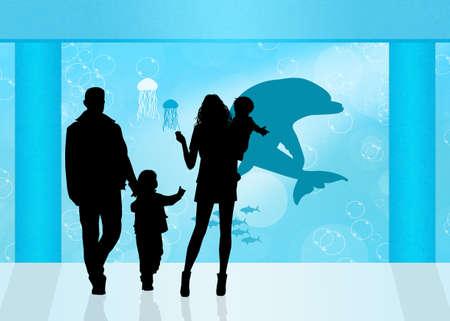 spectator: visitors in the aquarium