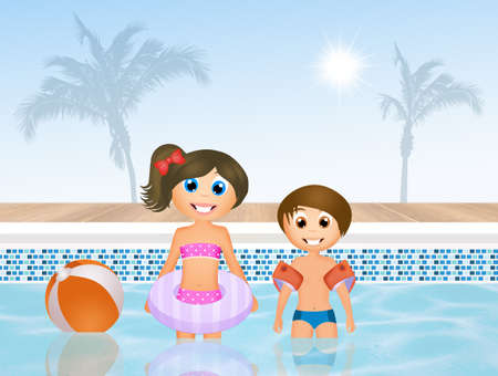 armrests: children in swimming pool