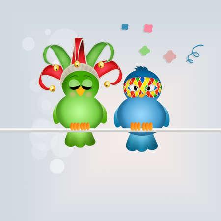 minstrel: birds with carnival mask