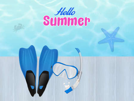 flippers: flippers and mask for diving in summer