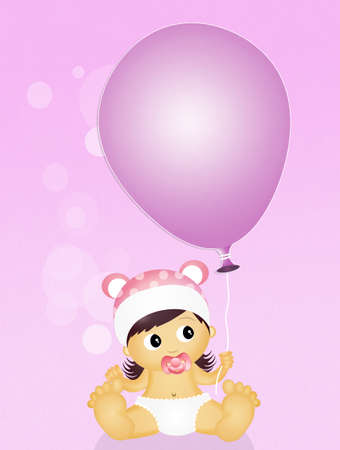 cute baby girls: baby female with balloon