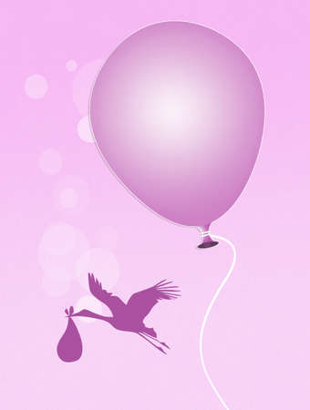 baby girl: pink ballon for baby girl Stock Photo