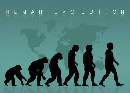 origin: human evolution silhouette Stock Photo