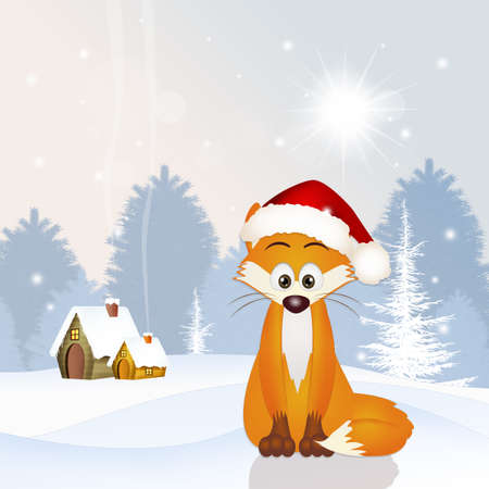 artful: red fox with Christmas hat