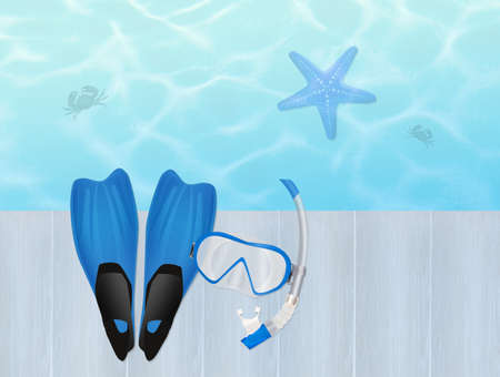flippers: flippers and mask for diving on pier Stock Photo