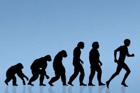 la evolución humana corriendo Foto de archivo