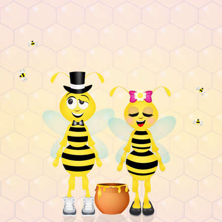 hum: couple of bees Stock Photo