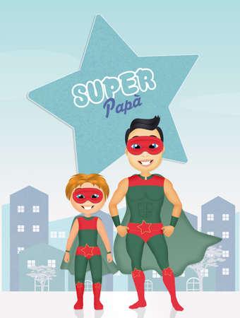 super dad: cute illustration of super dad