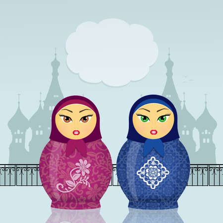 collectibles: illustration of funny Russian dolls