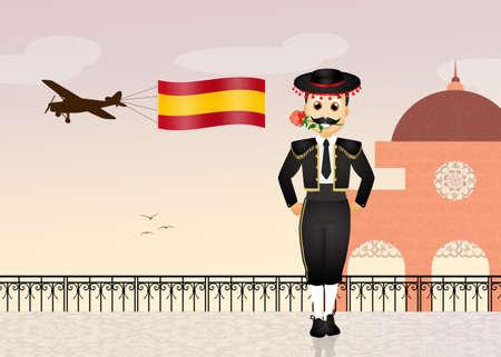 torero: illustration of Spanish man