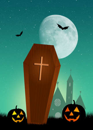 trumna: coffin in the graveyard at halloween