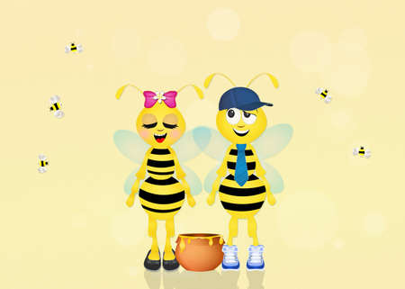 hum: cute bees with honey