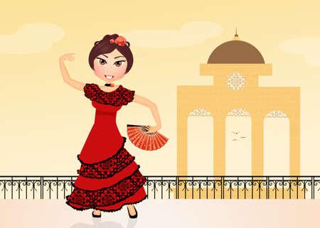 bailando flamenco: chica espa�ola bailando flamenco Foto de archivo