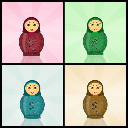 babushka: various Matryoshka dolls Stock Photo