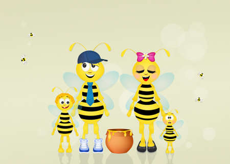 hum: family of bees Stock Photo