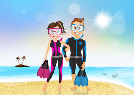 scuba mask: man and woman with fins and scuba mask Stock Photo