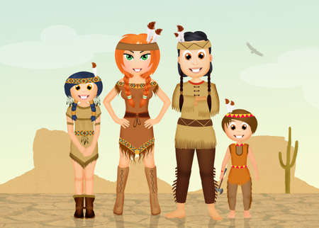 dry land: Indians family in the desert Stock Photo