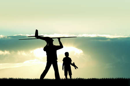 remote control: man and child with a airplane model remote control Stock Photo