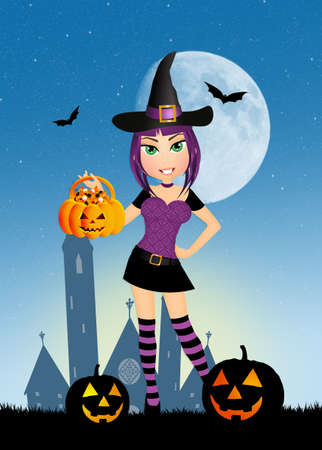 halloween witch: funny Halloween witch Stock Photo