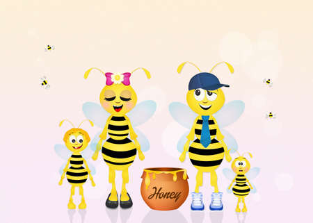 hum: family of bees with honey