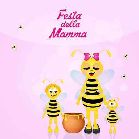 hum: Bee mom for Mothers Day Stock Photo