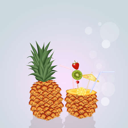 ananas: fresh cocktail in the ananas