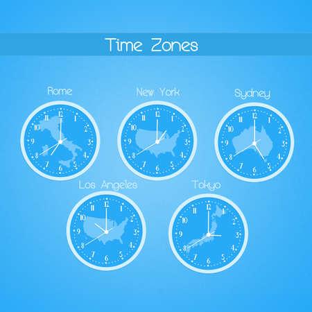 zones: illustration of Time zones Stock Photo