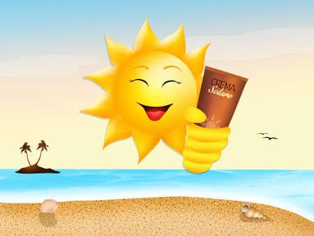 sunburn: funny sun with sunscreen Stock Photo