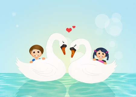 swans: children on swans