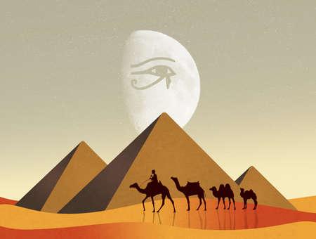 ojo de horus: ilustración de camellos en el paisaje egipcio