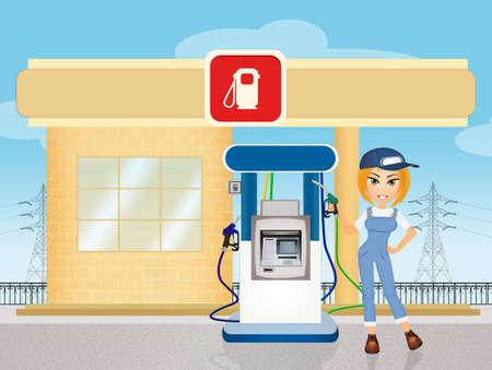 petrol station: a petrol station