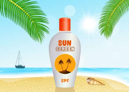 sun screen: sun screen lotion on the beach