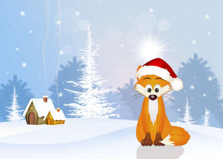 artful: red fox at Christmas
